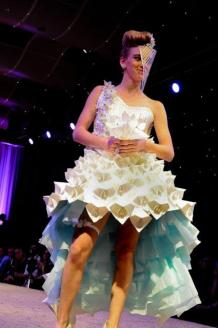 """Something Blue"" Paper, Model – Jessica Lieser, Winner for Best Student Design at Art Director's Club of Denver's 8th Annual Paper Fashion Show, March 2012"