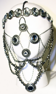 """Mask,"" sterling silver, glass, May 2013"