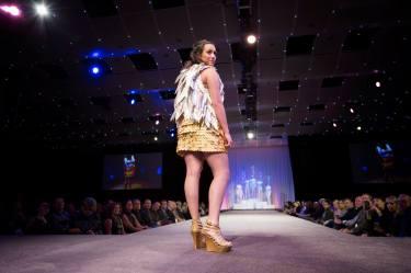 """Guarded,"" Paper Fashion Show 2017, Team - The Hanger Etc., Lead Designers - Anthony and Julia Lieser, Model - Jessamyn Bennett-Lobato"